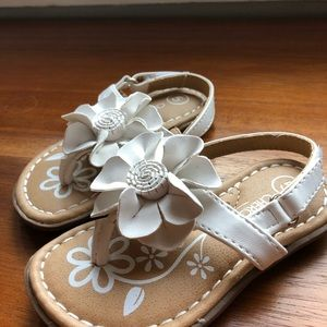 White and tan baby girls sandals size 5
